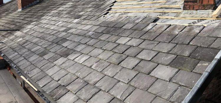 Re-slating roof on terrace